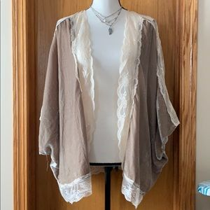 🌸Willow Clay velvet champagne lace kimono jacket